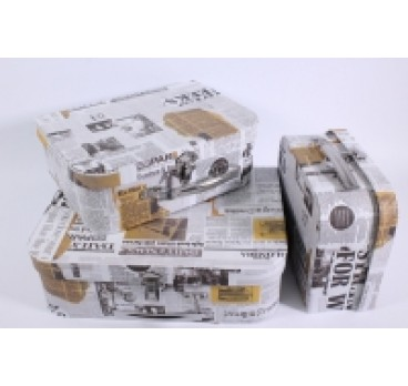Коробка из 3 шт Чемодан белая газета 30*21*95 см