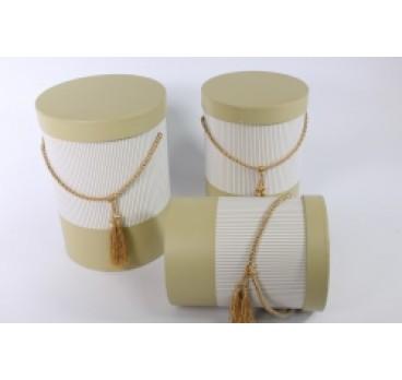 Коробка из 3 шт Цилиндр Полоска золотой 18*24 см