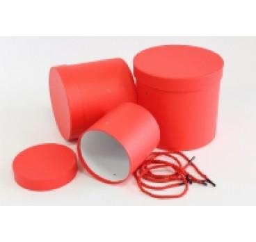 Коробка из 3 шт Цилиндр с ручками красная 23*19 см
