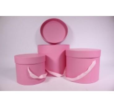 Коробка из 3 шт Цилиндр с ручками розовая 23*19 см