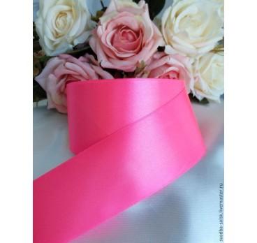 Лента Атласная Ярко Розовый