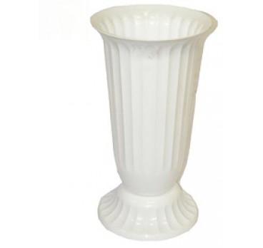Ваза Для Цветов Пластиковая Рифленая №1 Белая