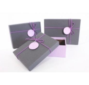 Коробка Прямоугольная из 3 шт шнурком серая кр 22*15*9 см