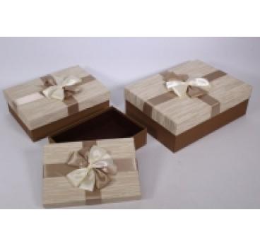 Коробка Прямоугольная из 3 шт с бант беж 33*25*12 см