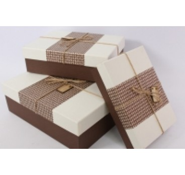 Коробка Прямоугольная из 3 шт рогожка корич кр 33*24*11 см