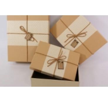 Коробка Прямоугольная из 3 шт рогожка беж кр 33*24*11 см