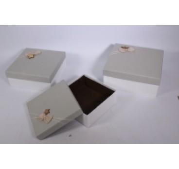 Коробка Квадрат из 3 шт серая кр 27*27*12 см