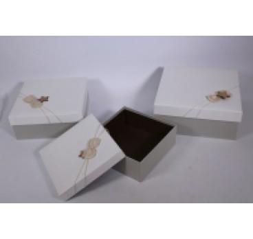 Коробка Квадрат из 3 шт белая кр 27*27*12 см