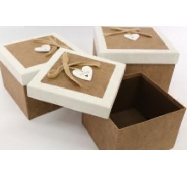 Коробка Квадрат из 3 Коричневый 23*23*17 см