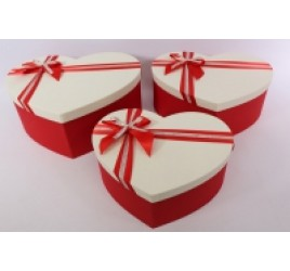 Коробка Сердце из 3 Красное 40*28*16 см