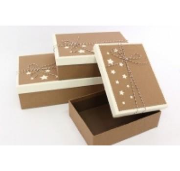 Коробка Прямоугольная из 3 Кофейная 28*20*9 см