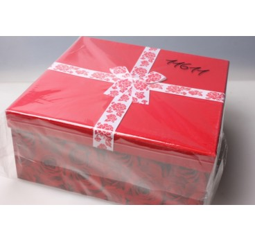 Коробка из 4 шт Квадрат Розы 26,5*26,5*12 см