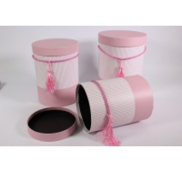 Коробка из 3 шт Цилиндр Полоска розовый 18*24 см