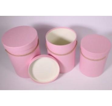 Коробка из 3 шт Цилиндр розовый 18*18*24 см