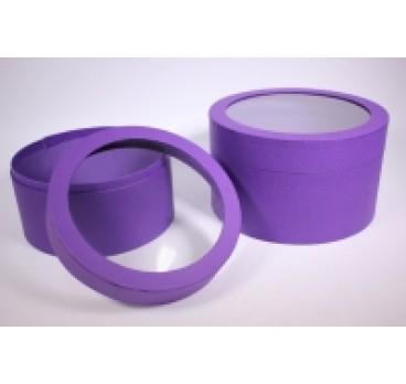 Коробка из 2 шт Цилиндр с окном фиолетовый 28*28*14 см