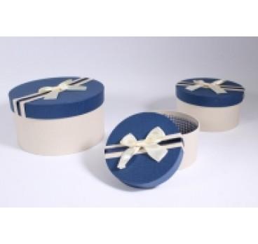 Коробка из 3 шт Круг синяя крышка 21*21*11 см