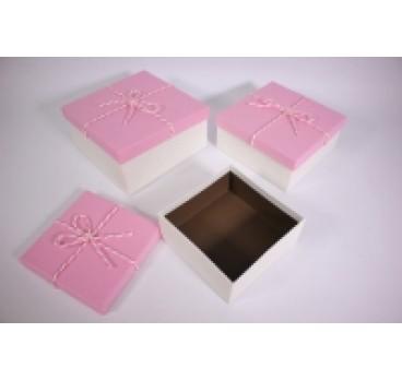 Коробка из 3 шт Квадрат Розовый 19*19*9 см