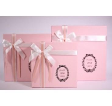Коробка из 3 шт Квадрат розовый 28*28*12 см