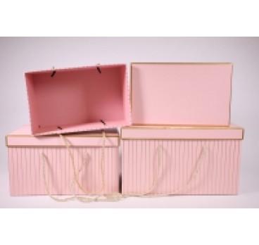 Коробка из 3 шт Прямоугольная розовая 33*23*19 см