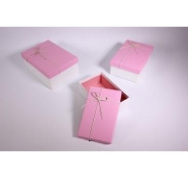 Коробка из 3 шт Прямоугольник белая крышка 23*16*9 см
