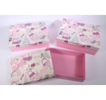 Коробки из 3 шт Прямоугольник Дамские розовая 29*21*9 см