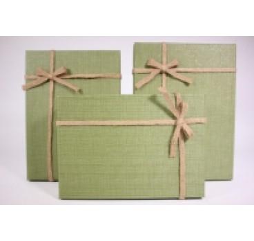 Коробка из 3 шт Прямоугольная оливковая 29*21*9 см