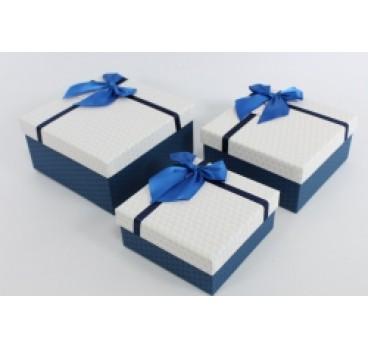 Коробка из 3 шт Квадрат белая крышка 18*18*9 см