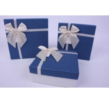 Коробка из 3 шт Квадрат синяя крышка 18*18*9 см