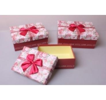 Коробка из 3 шт Прямоугольник розовый 22*16*9 см